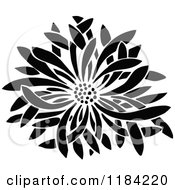 Clipart Of A Retro Vintage Black And White Flower Bloom Royalty Free Vector Illustration