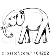Clipart Of A Black And White Walking Elephant Royalty Free Vector Illustration by Prawny Vintage