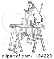 Clipart Of Black And White Carpenter Animals Royalty Free Vector Illustration