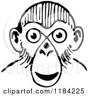 Clipart Of A Black And White Monkey Face Royalty Free Vector Illustration