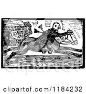 Retro Vintage Black And White John Gilpin On Horseback 3