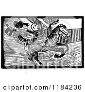 Retro Vintage Black And White John Gilpin On Horseback 6