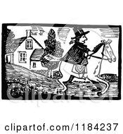Retro Vintage Black And White John Gilpin On Horseback
