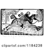 Retro Vintage Black And White John Gilpin On Horseback 2