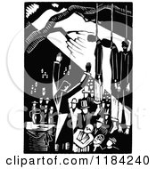 Clipart Of Retro Vintage Black And White People Debating Under Hanged People Royalty Free Vector Illustration