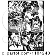 Clipart Of A Retro Vintage Black And White Man And Slaves Royalty Free Vector Illustration
