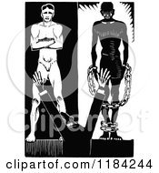 Clipart Of A Retro Vintage Black And White Man Before A Slave And Free Person Royalty Free Vector Illustration