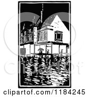 Clipart Of A Retro Vintage Black And White Rainy Village Royalty Free Vector Illustration