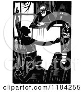 Clipart Of A Retro Vintage Black And White Man Pleading The Case Royalty Free Vector Illustration