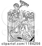Clipart Of Retro Vintage Black And White Peasant Workers With Farm Tools Royalty Free Vector Illustration