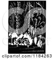 Clipart Of A Retro Vintage Black And White Group Riding Through The Woods On Horses Royalty Free Vector Illustration