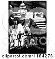 Clipart Of A Retro Vintage Black And White Couple Iwth Aspirations And A Capitol Building Royalty Free Vector Illustration