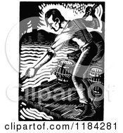 Clipart Of A Retro Vintage Black And White Man On A River Raft Royalty Free Vector Illustration