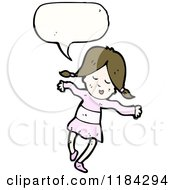 Cartoon Of A Girl In Pigtails Speaking Royalty Free Vector Illustration