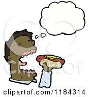 Cartoon Of A Black Man Eating A Hotdog Thinking Royalty Free Vector Illustration