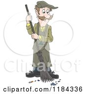Cartoon Of A Man Sweeping Up Ashes And A Cigarette Butt Royalty Free Vector Clipart by Alex Bannykh