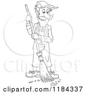 Cartoon Of An Outlined Man Sweeping Up Ashes And A Cigarette Butt Royalty Free Vector Clipart by Alex Bannykh
