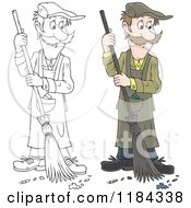 Cartoon Of A Colored And Outlined Man Sweeping Up Ashes And A Cigarette Butt Royalty Free Vector Clipart by Alex Bannykh