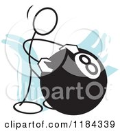 Cartoon Of A Stickler Man Behind The Eight Ball Over Blue Royalty Free Vector Clipart