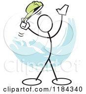 Cartoon Of A Stickler Man Tipping His Hat Over Blue Royalty Free Vector Clipart