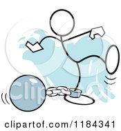 Cartoon Of A Stickler Man Attached To A Ball And Chain Over Blue Royalty Free Vector Clipart by Johnny Sajem