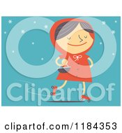 Cartoon Of A Retro Styled Red Riding Hood Roller Skating Oer Blue Royalty Free Vector Clipart