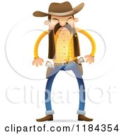 Cartoon Of A Wild West Sheriff Ready To Draw His Guns Royalty Free Vector Clipart
