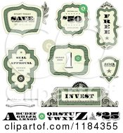 Clipart Of Cash Money And Certificate Design Elements Royalty Free Vector Illustration