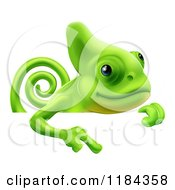 Cartoon Of A Green Chameleon Pointing Down At A Sign Royalty Free Vector Clipart by AtStockIllustration
