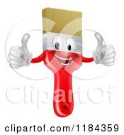 Cartoon Of A Happy Red Paintbrush Mascot Holding Two Thumbs Up Royalty Free Vector Clipart