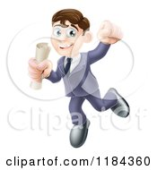 Cartoon Of A Happy Young Graduate Man Jumping And Holding A Diploma Royalty Free Vector Clipart