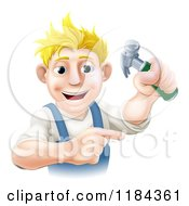Poster, Art Print Of Happy Blond Worker Man Holding A Hammer And Pointing