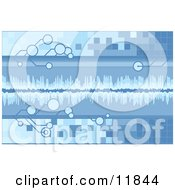 Blue Technology Background With Tiles Bubbles And Sound Waves Clipart Illustration