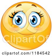 Cartoon Of A Happy Female Emoticon With Long Lashes Royalty Free Vector Clipart