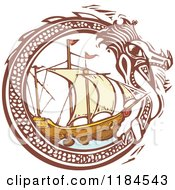 Clipart Of A Dragon Circling A Ship Woodcut Royalty Free Vector Illustration by xunantunich