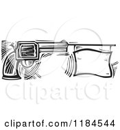 Clipart Of A Revolver Pistol With A Bang Flag Black And White Woodcut Royalty Free Vector Illustration