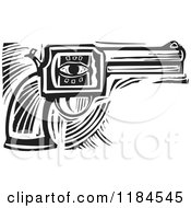 Clipart Of A Revolver Pistol With An Eye Black And White Woodcut Royalty Free Vector Illustration