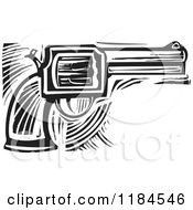 Clipart Of A Revolver Pistol Black And White Woodcut Royalty Free Vector Illustration