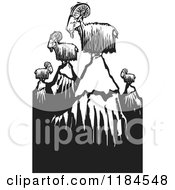 Clipart Of Mountain Goats On Peaks Black And White Woodcut Royalty Free Vector Illustration