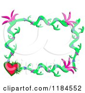 Cartoon Of A  Floral Frame With A Heart Royalty Free Vector Clipart