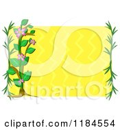 Floral Frame With Branches And A Plant Over Yellow Waves