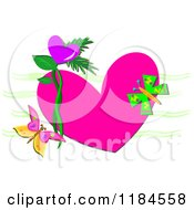 Pink Heart With Butterflies And Leaves Over Green Waves