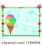 Floral Heart Frame Around An Ice Cream Cone And Blue Hearts