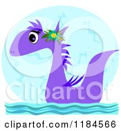Cartoon Of A Cute Purple Sea Serpent Wearing A Flower Over The Moon Royalty Free Vector Clipart by bpearth