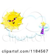 Cartoon Of A Happy Sun And Winged Star Over A Cloud Frame Royalty Free Vector Clipart by bpearth