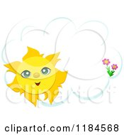 Cartoon Of A Happy Sun And Flowers Over A Cloud Frame Royalty Free Vector Clipart by bpearth