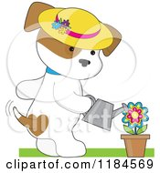 Cartoon Of A Cute Puppy Wearing A Sun Hat And Watering A Potted Flower Royalty Free Vector Clipart