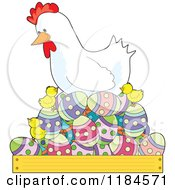 Cartoon Of A White Hen Nesting On Easter Eggs With Cute Chicks Royalty Free Vector Clipart by Maria Bell