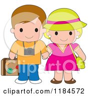 Cartoon Of A Cute Happy Traveling Couple Holding Hands Royalty Free Vector Clipart by Maria Bell