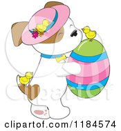 Cartoon Of A Cute Puppy Wearing A Sun Hat And Carrying An Easter Egg With Chicks Royalty Free Vector Clipart